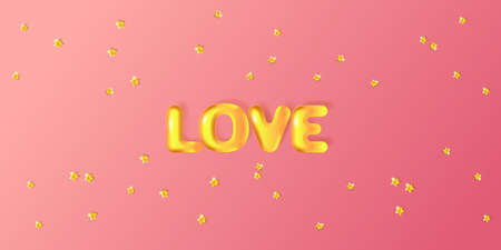 Greeting card for Valentine's day, Wedding, Mother's Day with pink 3D golden text Love.