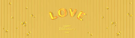 Golden 3D text Love and lighting star confetti. Holiday banner for Valentine's day, Wedding, Mother's Day.