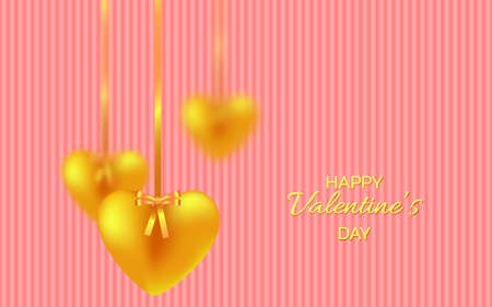 Golden hearts garland. Vector illustration for Valentine's day, Wedding, Mother's Day