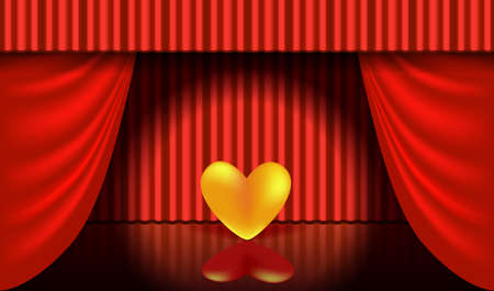 Greeting card for Valentine's day, Wedding, Mother's Day. 3D golden heart on the theater stage