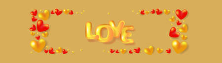 Red and golden hearts frame and 3D text Love. Holiday banner for Valentine's day, Wedding, Mother's Day. Illusztráció