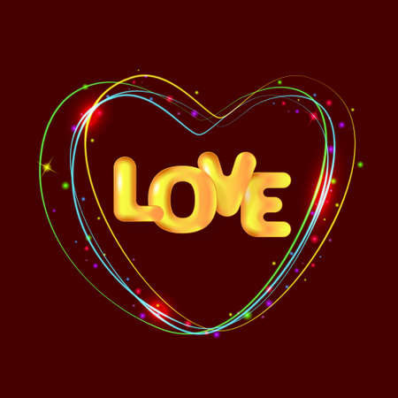 Holiday vector illustration. 3d golden text Love and neon glowing heart. Design for Valentine's day, Wedding, Mother's Day