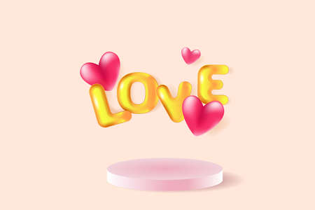 Pink hearts and 3D golden text Love on the stage podium. Greeting card for Valentine's day, Wedding, Mother's Day. Illusztráció