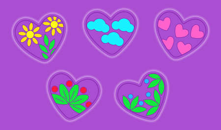 Volumetric convex hearts with different decor. Vector illustration