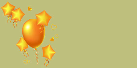 Golden balloon and 3D air stars. Valentine's day greeting card.
