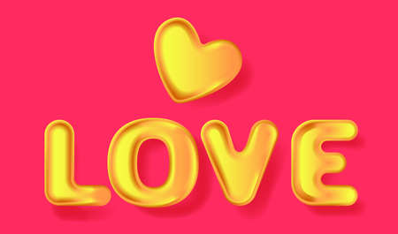 Golden heart and 3D golden text Love. Greeting card for Valentine's day, Wedding, Mother's Day. Vector EPS10