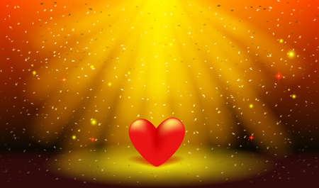 Greeting card for Valentine's day, Wedding, Mother's Day. 3D red heart on the stage. Red heart in the rays of spotlights