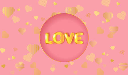 Greeting card for Valentine's day, Wedding, Mother's Day with golden 3D text Love. Vector EPS10