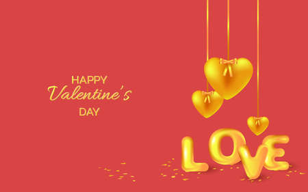 Hanging golden hearts and text Love. Valentine's day greeting card. Vector EPS10