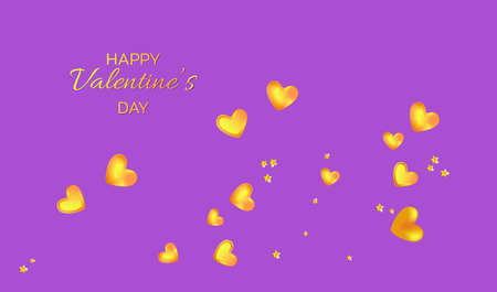Golden 3D hearts and stars. Holiday banner for Valentine's day, Wedding, Mother's Day.
