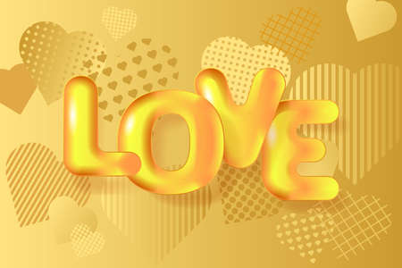 Golden hearts background and 3D golden text Love. Greeting card for Valentine's day, Wedding, Mother's Day. Vector EPS10 Illusztráció