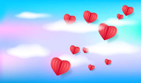Flying hearts. Blue sky, white clouds and voluminous red hearts. Holiday background for Valentine's day, Wedding, Mother's Day.