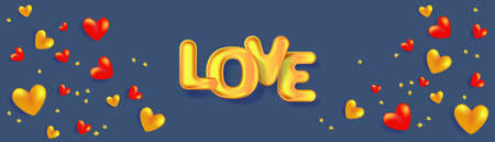 Red and golden hearts and 3D text Love. Holiday banner for Valentine's day, Wedding, Mother's Day. Illusztráció