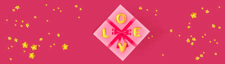 Happy Valentine's day banner. Pink gift box and golden confetti. Holiday banner