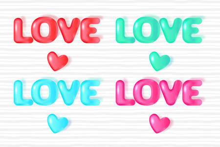 Set of 3D text Love. design for Valentine's day, Wedding, Mother's Day. Vector EPS10
