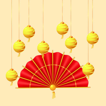 Oriental Holiday Lunar New Year. Hanging golden paper lanterns and traditional red hand fan. Oriental Holiday Lunar New Year Illusztráció