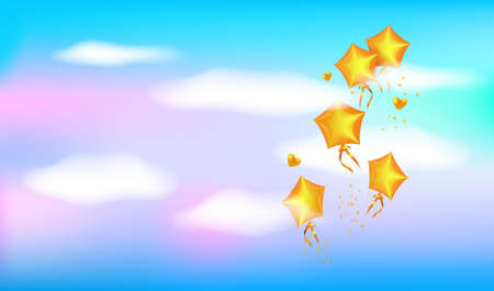 Golden balloons flying in the sky. Blue sky, white clouds and golden balloons as stars. Valentine's day greeting card.