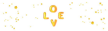 3D text Love and star confetti. Holiday banner for Valentine's day, Wedding, Mother's Day.