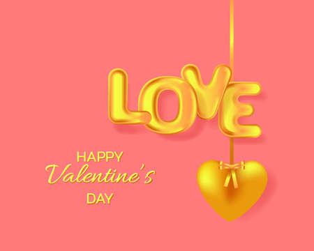 Hanging golden heart and text Love. Valentine's day greeting card.
