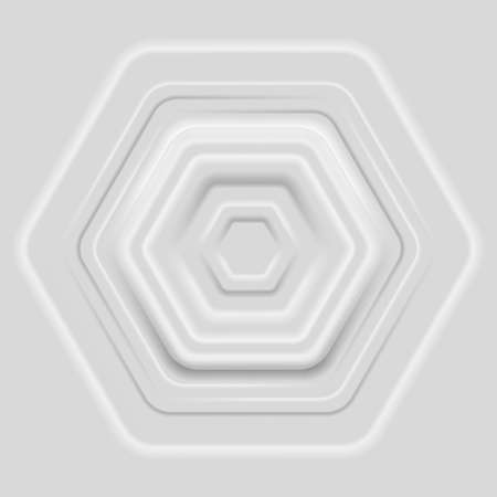 Multilayered light gray hexagon frame. Abstract geometric background
