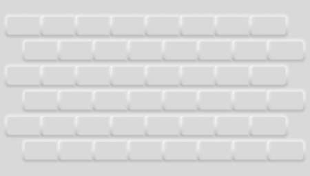 Geometric background with white bricks. Light gray wall