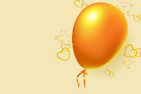 Golden balloon, 3D hearts and confetti. Valentine's day greeting card