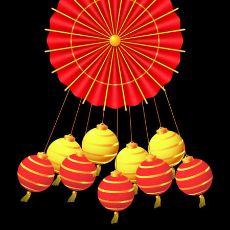 Hanging paper lanterns and traditional red umbrella. Oriental Holiday Lunar New Year