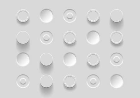 White buttons in neomorphism style. Abstract geometric background