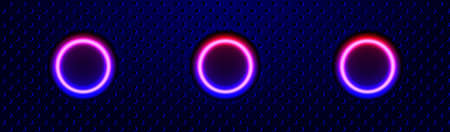Color neon laser abstract banner. Glowing neon lines on the black perforated metal backdrop. Vector EPS10