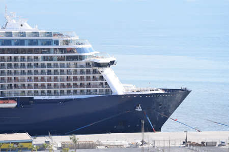 Blue cruise ship at anchor in the harbor Stok Fotoğraf