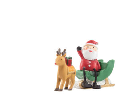 reindeer lug green sleigh  santa claus sit on gesticulate your hand isolated