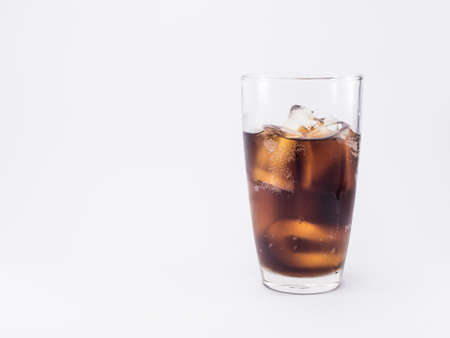 two and two thirds: two of thirds soft drink is cool and ice cubes  in glass