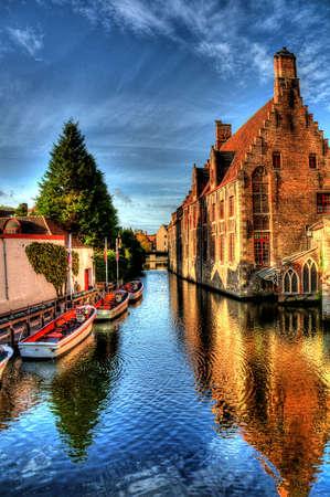 belgium: canal in bruges, belgium Stock Photo