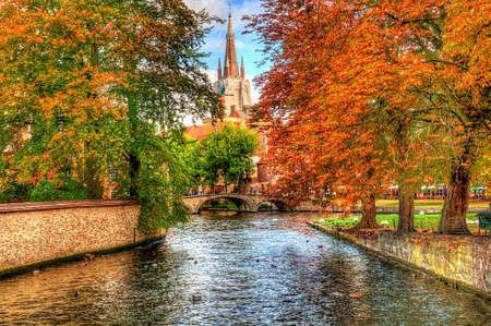 Canal in Brugge, België Stockfoto
