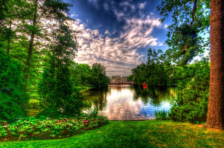 lake in lazienki park, warsaw, poland