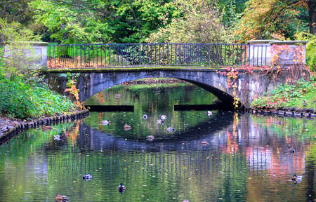 lazienki: bridge in lazienki park, warsaw, poland