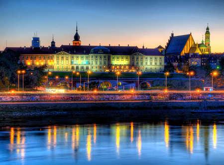 Warschau Königsburg in der Nacht