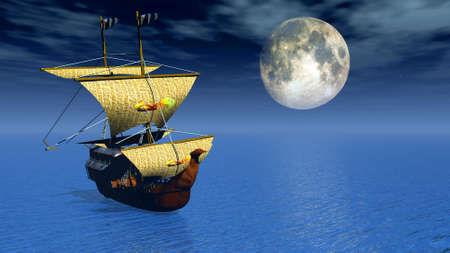 ship 3d with moon background Stock Photo - 11771885