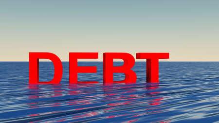 sinking in debt concept photo