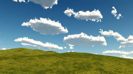grass and clouds landscape Stock Photo - 11866096
