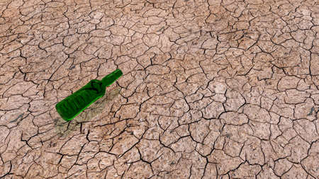 cracked earth: discarded bottle