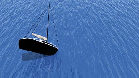 sinking: sinking yacht Stock Photo