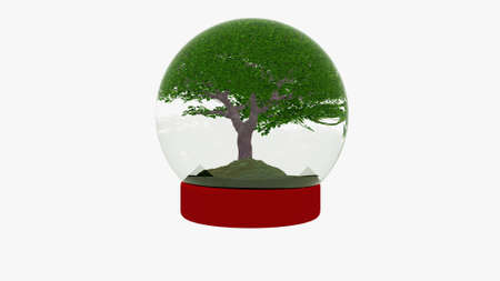 snow globe with cherry tree, ecology concept