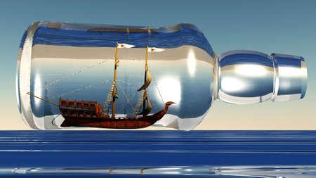 ship in a bottle on sea