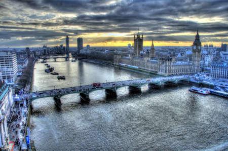londre nuit: Vue du London Eye Banque d'images