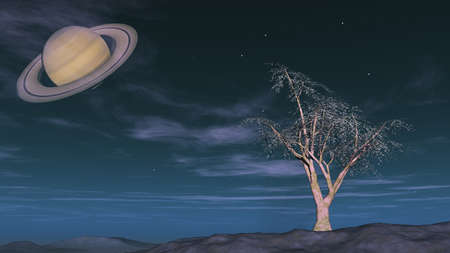 fantasy landscape showing saturn Stock Photo - 18868798