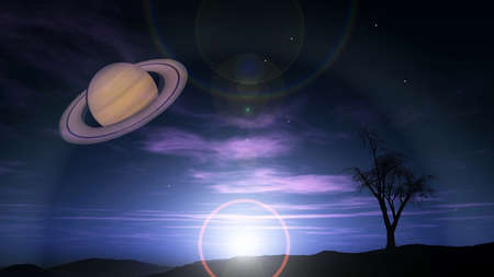 fantasy landscape showing saturn
