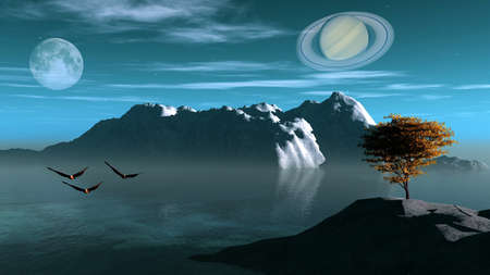fantasy landscape showing saturn photo