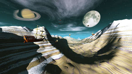 fantasy landscape showing flying ships and saturn