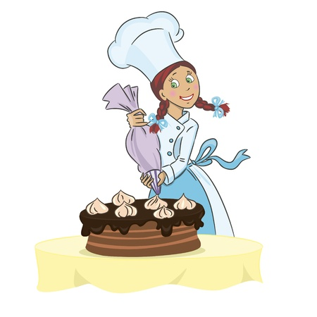 cake decorating: Chef girl decorating a cake